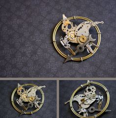 A Mockingjay pin made from old clock pieces. In other words, a Clockingjay.