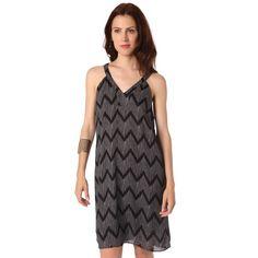 Black midi dress in zig zag print with V-neckline