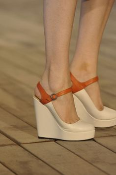 Nude wedge shoes