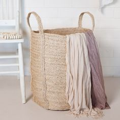 JUTE LAUNDRY BASKET IN NATURAL