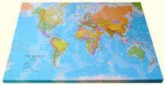 Wereldkaart op linnen ingelijst