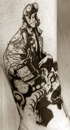 Mignola Hellboy tattoo on me *sneakpeak* by flaming-trout