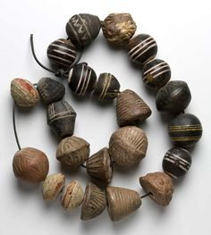 Clay/pottery beads/whorls, some painted