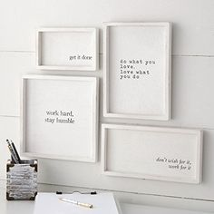 Work Hard Framed Plaques Set - Bahay Home and Garden Set of 4 white-washed wooden plaques feature motivating printed sentiments, thick raised wooden borders and arrive with saw tooth hardware for hanging. Size: get it done 5 x 8 Office Walls, Office Decor, Wooden Plaques, Getting Things Done, Cheap Home Decor, Home Remodeling, Bedroom Decor, Diy Living Room Decor, Sweet Home