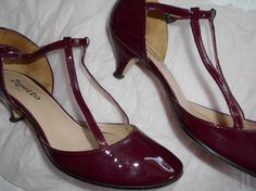 Patent Leather Shoes Repetto Paris Garnet Colour Double T Bar Full Backs Kitten Heels Fine Straps Wedding Quality French Size 42