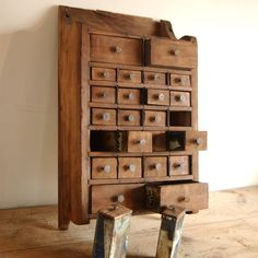 Great Storage for all of those little things - Antique Farmhouse Primitive Folk Art Apothecary Hanging Spice Chest Metal Wood