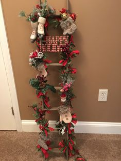 Tobacco stick ladder decorated for Christmas