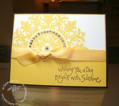 handmade card in yellow, Daffodil Delight, & white ... luv the happy, bright color & how it unifies the card ... Stampin' Up!