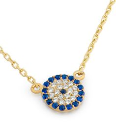 Chloe David Blue Cubic Zirconia & Gold Eye Pavé Pendant Necklace | zulily   #streetstyle