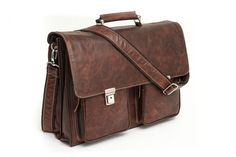 Siena Triple Compartment Italian Leather Briefcase