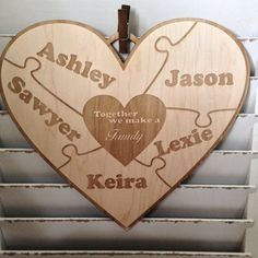 Have you seen our Family Heart Puzzle Sign?  Makes a wonderful Mother's Day Gift! https://etsy.me/2GLXfwg #mothersday #homedecor #wallart #keepsake #puzzlesign #familypuzzlesign #customsign #woodenpuzzle