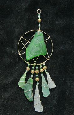 Sea Glass Suncatcher Dreamcatcher Native American by oceansbounty, $28.00
