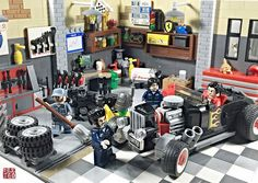 Expanded Garage - added some more walls and tools. Lego Cars, Lego Truck, Lego Furniture, Minecraft Furniture, Furniture Ideas, Lego Table Ikea, Lego Factory, Lego Decorations, Toy Garage