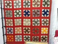 Antique quilt, embroidered initials on several blocks, Crossroads Pattern, Etsy, UberArtAntiks