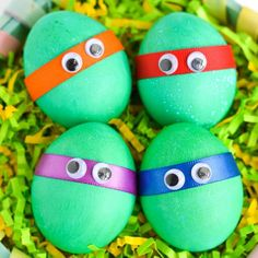 Make Easter eggs into your kid's favorite characters! These dyed TMNT eggs are easy to make for kids of all ages.