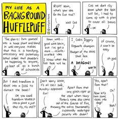 Emily's Cartoons : My Life as a Background Hufflepuff Harry Potter Comics, Harry Potter Marauders, Harry Potter Jokes, Harry Potter Fandom, Drarry, Background Slytherin, Hufflepuff Pride, Ravenclaw, Harry Potter Universal