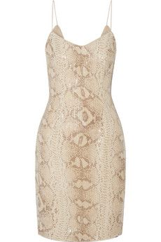 Mikael Aghal Snake-print sequined georgette mini dress | THE OUTNET