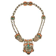 Sterling Silver, Turquoise And Coral Necklace By Matilde Poulat, Mexico  c.1940's