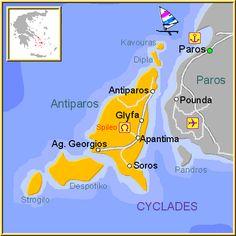 ☼ Grecia Greece ☼ Cyclades Island Mapa de la isla de Antiparos, en las Islas Griegas Cícladas, Cýcladas, Grecia.
