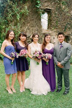 Bridesmaids in mismatched purple dresses (plus, a man of honor!) | @janamorganphoto | Brides.com