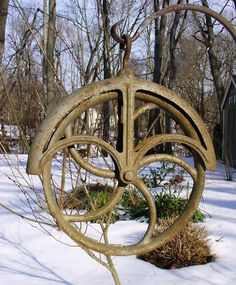 Antique Cast Iron Well Pulley Wheel Barn Rustic by Objectsnart, $69.95