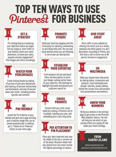 Top Ten Ways to Use #Pinterest for #Business - #Infographic