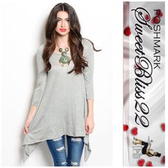 Gray Tunic The most versatile top you can ever buy. Wear with shorts, leggings, or jeans! Either way you are fabulous! ⭐️100% Polyester ⭐️ Small measures 34 inches in the bust ⭐️️️️️Medium measures 36 inches in the bust Don't miss out Tops Tunics