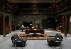 Hannibal Lecter's office from the show Hannibal. Look at all the bookshelves! I want it!!!
