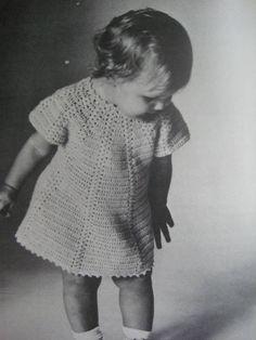 Baby Crochet Pattern, Vintage Pattern - Crochet Baby and Toddler Dress B-846. $3.00, via Etsy.