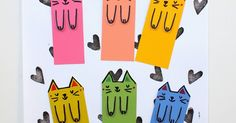 Blog about Easy and Fun Kid Art and Crafts Activities Creation Activities, Craft Activities, Cat Crafts, Arts And Crafts, Super Cute Cats, Art For Kids, Kid Art, Cute Diys, Bookmarks