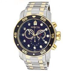 e65548de78e Relógio masculino Invicta 0077 Prata e dourado Pro Diver Banhado a ouro 18  k fundo Azul