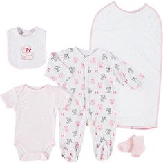 Seven Piece Pink Poodle Baby Set