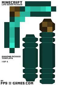 Life-Size Diamond Pickaxe Papercraft Template