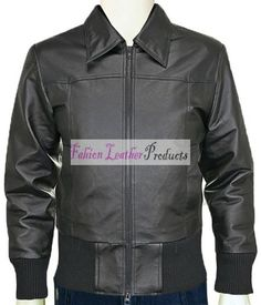 MEN'S RIB KNIT BLACK BOMBER LEATHER JACKET