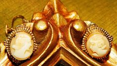 Vintage Dainty Cameo Clip On Earrings Gold by TheIDconnection, $28.00