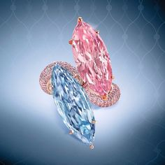 Beyond compare. A natural fancy intense pink and natural fancy vivid blue marquise diamond ring with a pink diamond shank. Rosa Bling, Pink Bling, Gem Diamonds, Colored Diamonds, I Love Jewelry, Fine Jewelry, Lotus Jewelry, Jewelry Rings, Marquise Diamond