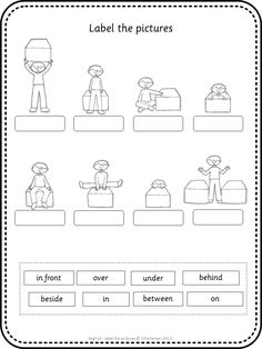 Label the picture worksheets. Great vocabulary practice for your ESL lessons. This set covers all major topics from adjectives to weather with and without wordbank.: prepositions of place Esl Lessons, Grammar Lessons, English Lessons, Learn English, French Lessons, Spanish Lessons, Learn French, English Prepositions, English Grammar Worksheets