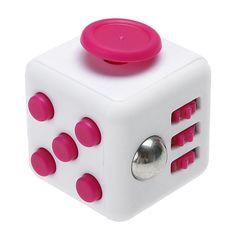 Fidget Cube Toy Pink & White