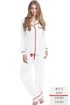 6797a89ac Pippa PJ Set in White with Cherry Piping