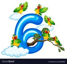 Six bird on sky Royalty Free Vector Image - VectorStock Numbers Preschool, Preschool Worksheets, Preschool Activities, Free Vector Images, Vector Free, Display Boards For School, Forest Cartoon, Boarders And Frames, Flashcards For Kids