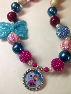 """Frozen Anna Necklace Inspired Chunky Bubblegum Bead Necklace """"Ready to Ship"""" on Etsy, $25.00"""