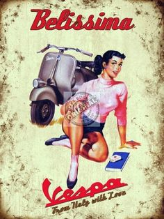 "Decorate your Vespa Man Cave or Garage with this vintage Vespa Pin Up 6"" x 8"" sign. This would look great in your home or garage! And...it's only $9.99 in our showroom! :)"