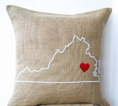 Handcrafted Pillow Cover - Virginia State Map Pillow Cover - Cushion Cover in Natural Burlap with State Map Embroidered Along with a Red Heart - Personalized Pillow Cover - Customized Cushion Cover - Gift - Hessian Cushion Cover - Virginia Pillowcase (16 x 16) Amore Beaute http://smile.amazon.com/dp/B00HT6OYKA/ref=cm_sw_r_pi_dp_TcZ1vb15HRMWW