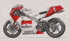 Wayne Raineys Moto GP Yamaha 1991. This is done using pencil, pencil crayon and pastel.