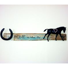 Completed project! One of my horse's shoes + a chalkboard spray painted Breyer + reclaimed board = cute equestrian sign :)