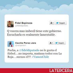 Gran polémica generaron dichos que hizo el diputado PS Fidel Espinoza en twitter, luego de que Cecilia Pérez dijera que le preocupaba más el partido de Chile ante Uruguay que la vuelta de Michelle Bachelet.