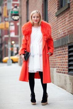 Opening Ceremony's Kate Foley embraces the statement coat.    #streetstyle #newyorkfashionweek #fashion #fashionweek #style #harpersbazaar #mrnewton #katefoley