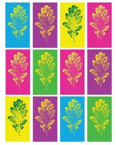 Nette Anregung - moderne Kunst mit Herbstlaub auf buntem Tonkarton Pop-Art Eichenblatt Kunst