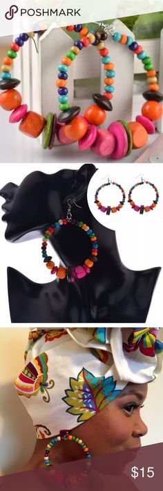 🔥Earrings Super Fab Lightweight Wood Beaded 🔥 These earrings are super Fabulous! The multicolored wood beads add a dynamic pop of color. They are hooks and very lightweight. Transform your style with these cuties by replacing your traditional hoops. Dress them up or down. The style options are endless. Crowned In Royalty Jewelry Earrings