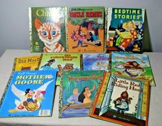 Lot of 10 Vintage Golden Books Uncle Remus Charlie Cat Disney Mother Goose Disney Pocahontas, Walt Disney, Uncle Remus, Mother Goose, Chapter Books, Red Riding Hood, Read Aloud, Little Red, Bedtime